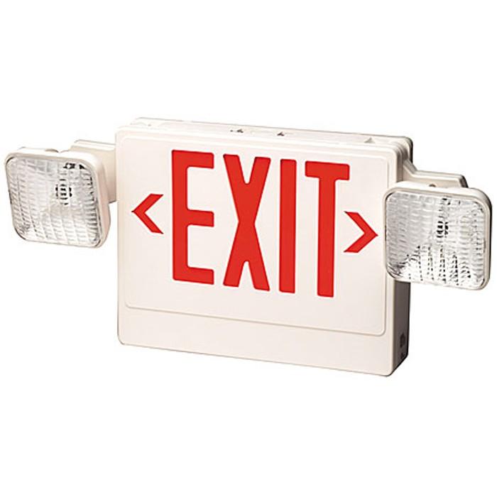 plastic led exit sign emergency light combo battery backup. Black Bedroom Furniture Sets. Home Design Ideas