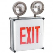 Wet Location LED Exit Sign Combo - Red Letters