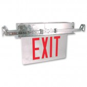 Recessed LED Edge Lit Exit Sign - Red Letters